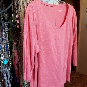 Eileen Fisher Coral Linen Top